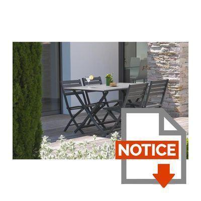 ALUMOB Table de jardin pliante Marius en aluminium 140x80x73 cm ...