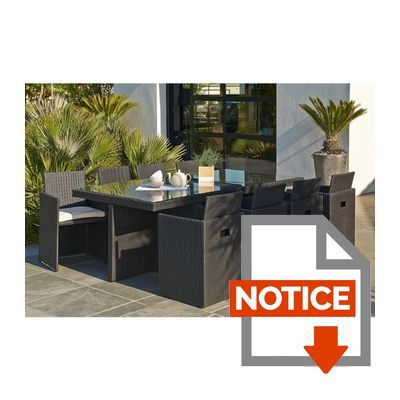 DCB GARDEN Salon de jardin encastrable 1 table et 8 ...