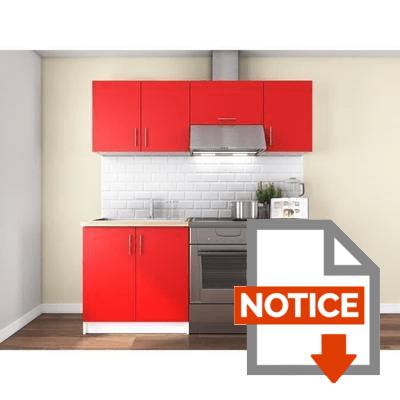 Notice OBI Cuisine complète L 180 cm - Rouge mat