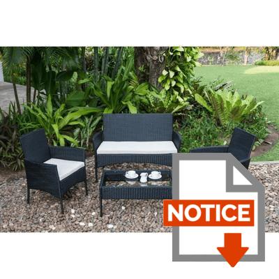 Notice Salon de jardin Rio 1 table basse, 2 fauteuils et