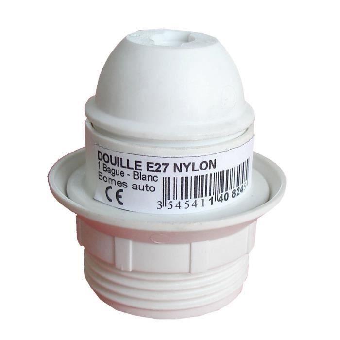 Portalampada E27 singolo anello in termoplastico bianco