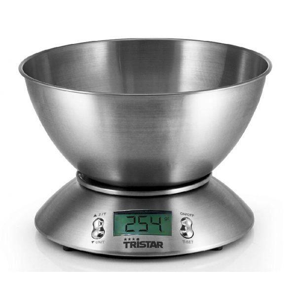 Besole000 Bilancia da cucina con ciotola - KW-2436 - 2,5 L - Acciaio inossidabile