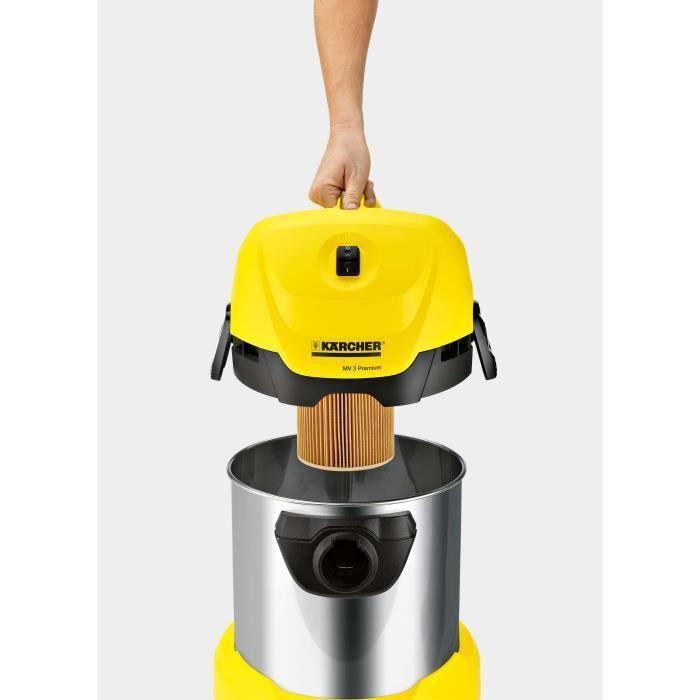 Aspirateur eau et poussiere KARCHER WD 3 Premium - Fonction soufflerie - Cuve inox 17 L - 1000 W