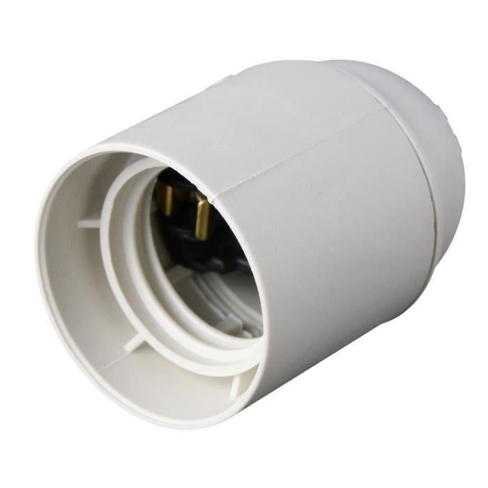 Portalampada E27 in termoplastico bianco liscio