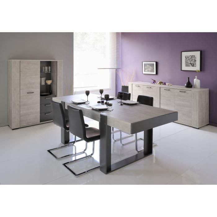 Table a manger de 8 a 10 personnes - Industriel - Décor chene et gris - LOFT  - L 224 x l 90 cm