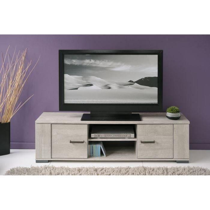 PARISOT LOFT Meuble TV contemporain et industriel décor bois gris - L 150 cm
