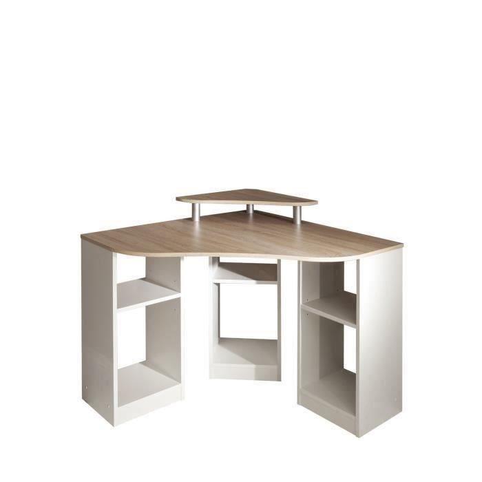 SYMBIOSIS Bureau d'angle contemporain blanc et décor chene - L 94 cm - BOBBY