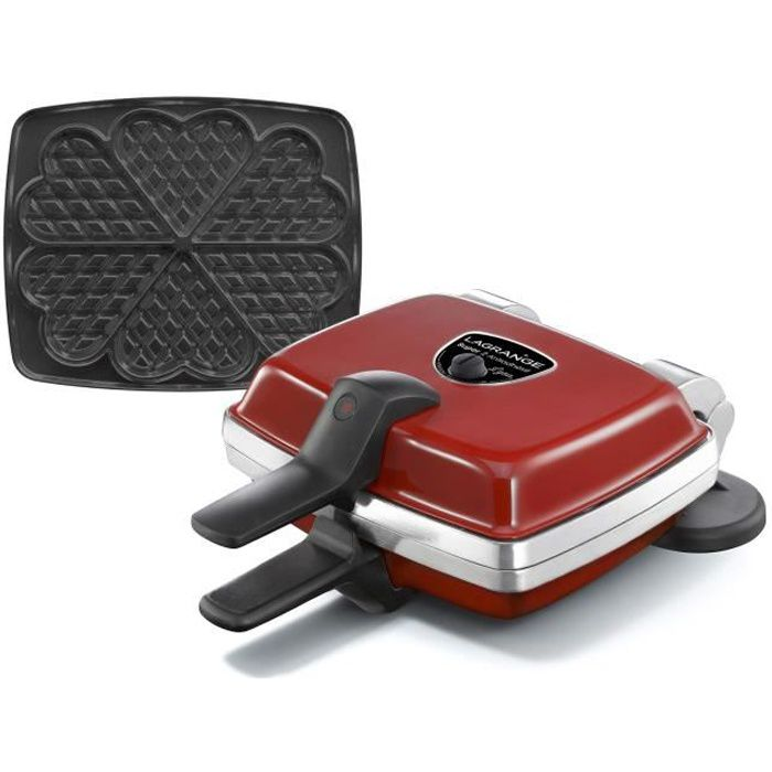 Piastra per cialde antiaderente LAGRANGE Super 2 - 1000W - 1 set di piatti: Cialde a cuore - Rosso