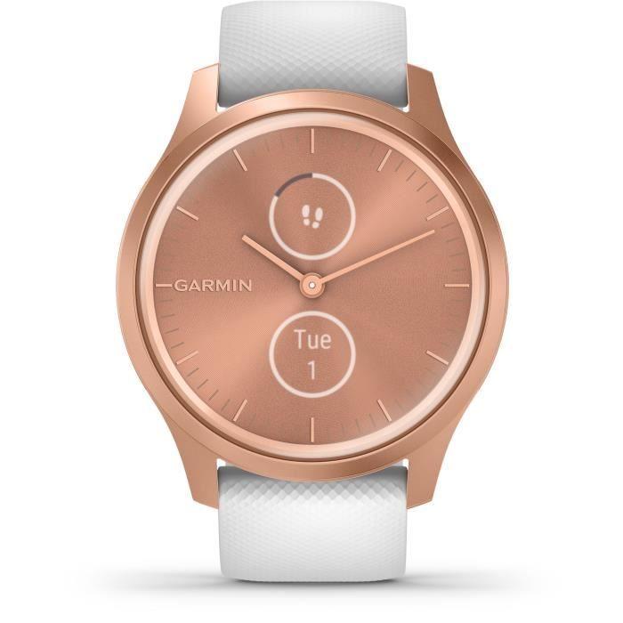 Garmin - Vivomove Style - Montre Connectée a Aiguilles Mécaniques et écran Tactile - Suivi GPS - Rose Gold/ White