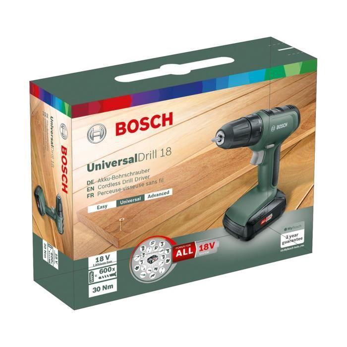 BOSCH Perceuse-visseuse sans fil  - UniversalDrill 18 (1 batterie, systeme 18V – 1,5Ah, livré en boite carton)