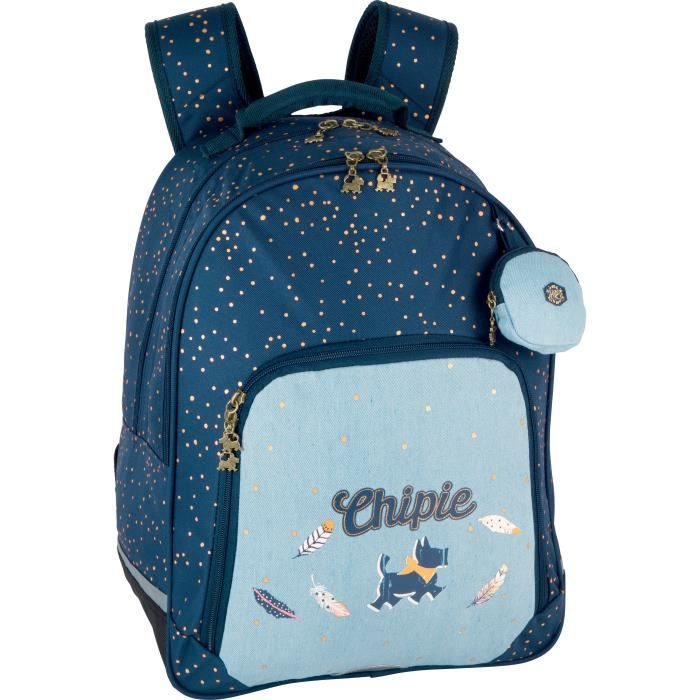 CHIPIE Sac a Dos Borne 2 Compartiments Bleu Enfant