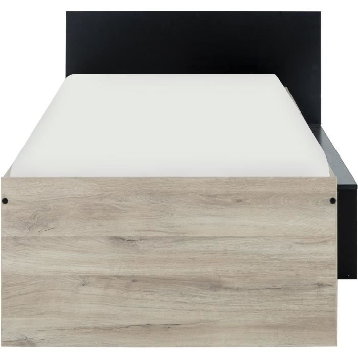 GAMI Erquy Lit enfant avec rangement - Décor Chene Kronberg clair et Noir - 90 x 200 cm
