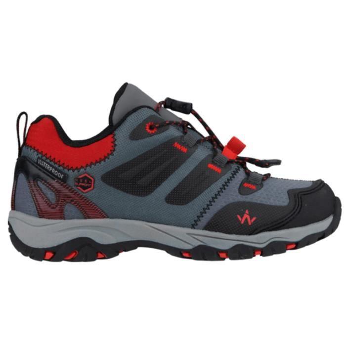 WANABEE Chaussures de randonnée Hike 300 2 LOW WP - Enfant Garçon - Gris et rouge