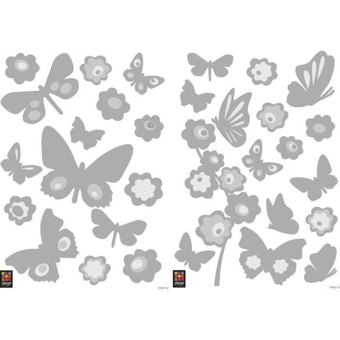 PLAGE Stickers adhésif mural Taille S - Papillons miroirs argent2 planches 29,7 x 21 cm, divers motifsPRODUIT CREATEUR