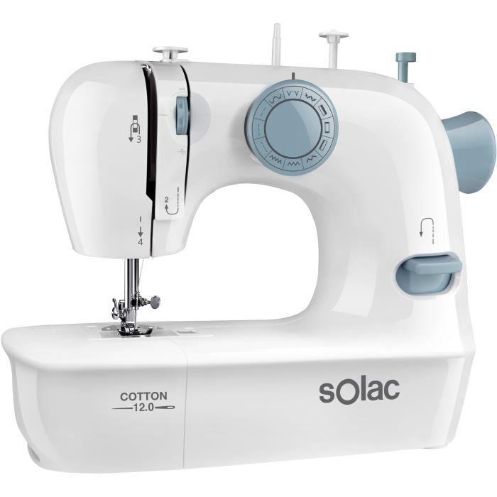 Macchina da cucire SOLAC SW8220 - COTONE 12 - 7,2W - 2 velocità - Illuminazione brillante dell'area di lavoro