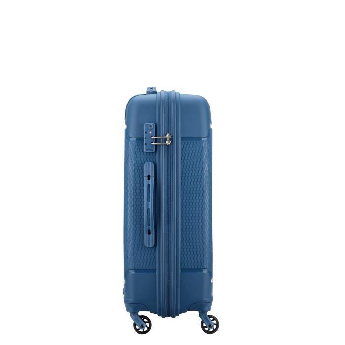 DELSEY Valise Trolley Rigide Polypropylene 4 Roues 66cm SEJOUR Bleu