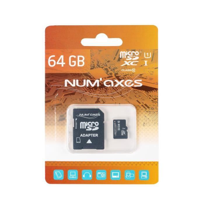 NUMAX Micro SDXC Scheda di memoria Classe 10 da 64 GB con adattatore