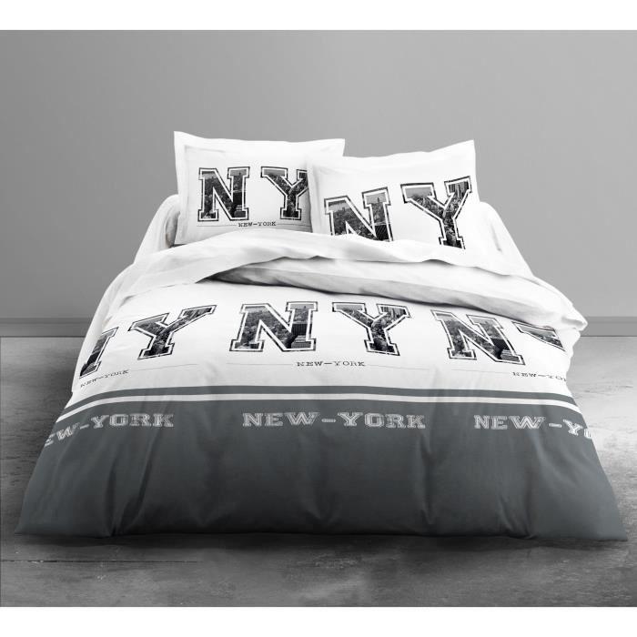 TODAY Parure de couette Only NY GREY - 1 housse de couette 220x240 cm + 2 taies d'oreillers 63x63 cm blanc et gris