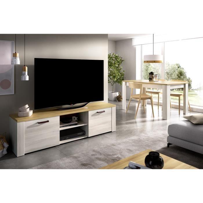 Meuble TV -Décor chene clair et naturel  - L 180 x P 40 x H 49 cm - SIENA