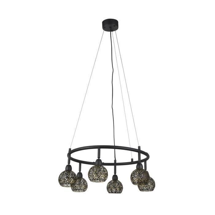 COREP Dalila lampada a sospensione in metallo - H 30 cm - 33 W - Nero sabbiato e ottone
