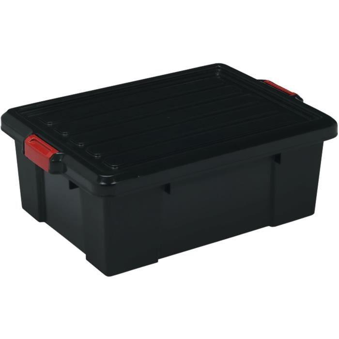 IRIS OHYAMA Lotto di 3 contenitori con chiusura a scatto - Power Box - SK-230 - Plastica - Nero - 25 L - 59 x 38, 5 x 18 cm