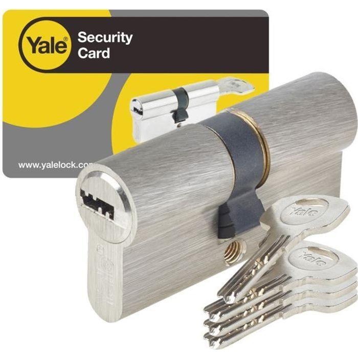 cilindro YALE serie 1000 40x40 mm nichelato, 6 perni, antiperforazione e anti-picking, 4 chiavi reversibili