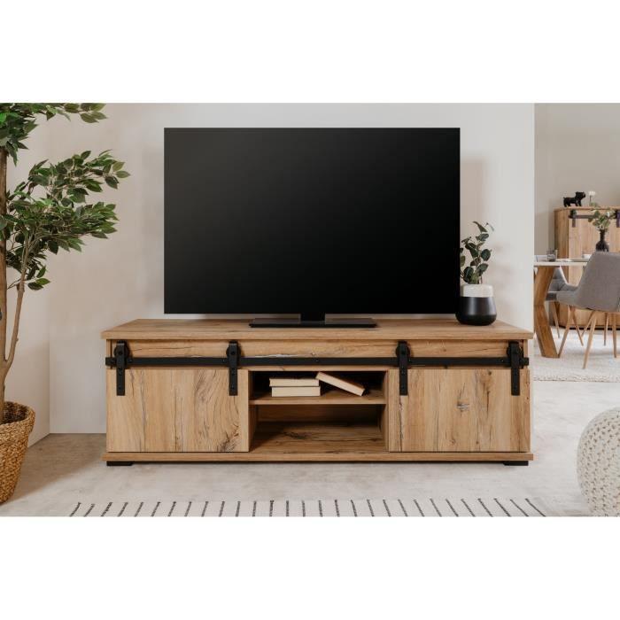 Meuble TV 2 portes coulissantes - Décor chene - 160 x 40 x 50 cm - MANZANO