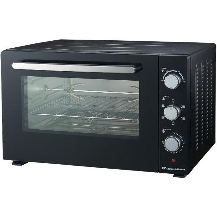 CONTINENTAL EDISON CEMF60B2 - Mini forno elettrico 60L nero - 2200W - Girarrosto, convezione naturale