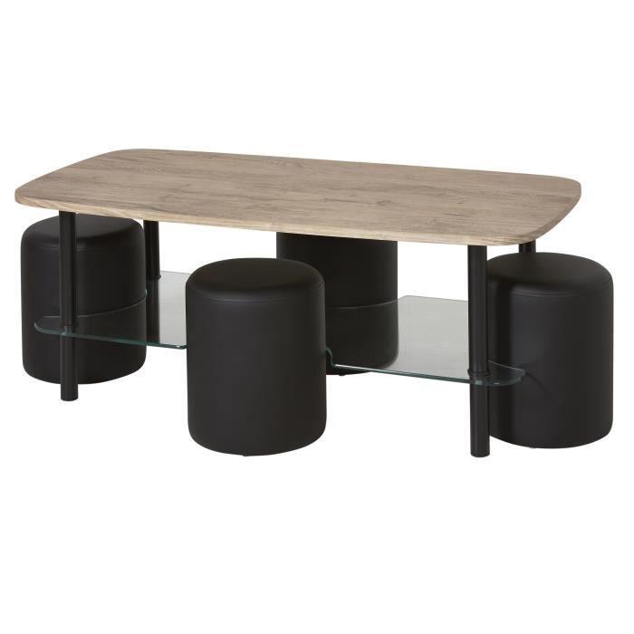 Ensemble Table basse - Plateau bois et verre et 4 poufs simili - Noir - L 120 x P 60 x H 45 cm
