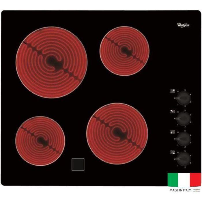 WHIRLPOOL AKM9010NE Piano cottura in vetroceramica - 4 fuochi - 6200W - L58 x P51cm - Rivestimento in vetro - Nero