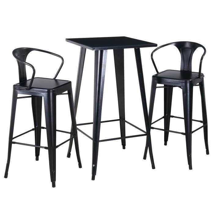 RICHMOND Ensemble table et chaises hautes de 2 a 4 personnes industriel en métal noir - L 60 x l 60 cm