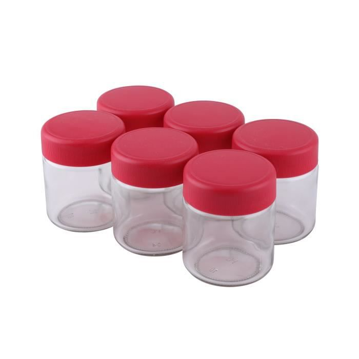 CONTINENTAL EDISON - Lotto di 6 vasetti per yogurt - CEYA00PO - 0,21L - coperchio rosso