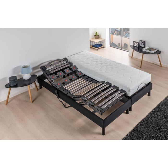 DEKO DREAM Relaxation Ensemble Matelas mousse 2x80x200 cm + Sommier TPR avec Plots top confort