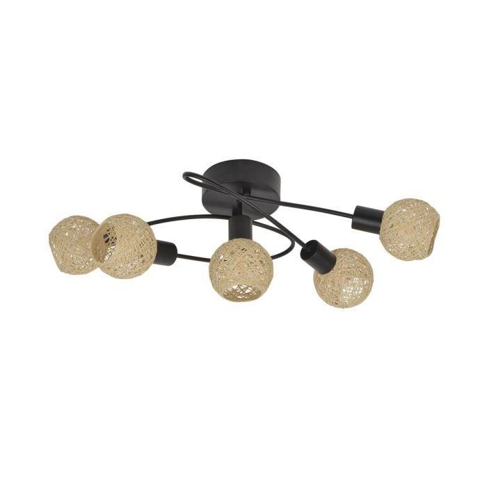 COREP Plafoniera 5 luci in metallo Malya - H 21 cm - 15 W - Nero opaco e naturale