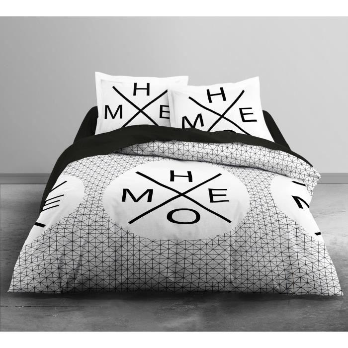 TODAY Parure de couette Enjoy HOME 100% coton - 1 housse de couette 220x240 cm + 2 taies 63x63 cm blanc et noir