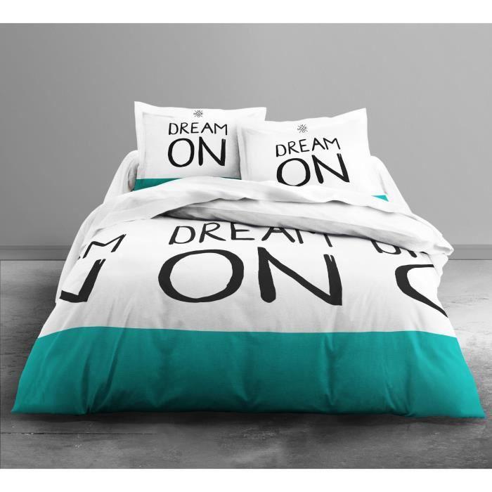 TODAY Parure de couette Enjoy DREAM ON 100% coton - 1 housse de couette 220x240 cm + 2 taies 63x63 cm blanc et bleu