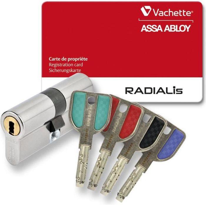 Vachette RADIALis Cilindro della serratura disinnestabile 42,5x42,5 mm per porta d'ingresso, altissima sicurezza, 4 chiavi non copiabili