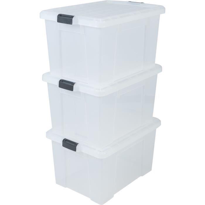 IRIS OHYAMA Lotto di 3 contenitori con chiusura a scatto - Power Box - SK-700 - Trasparente - 68 L - 63,5 x 44,6 x 35,5 cm