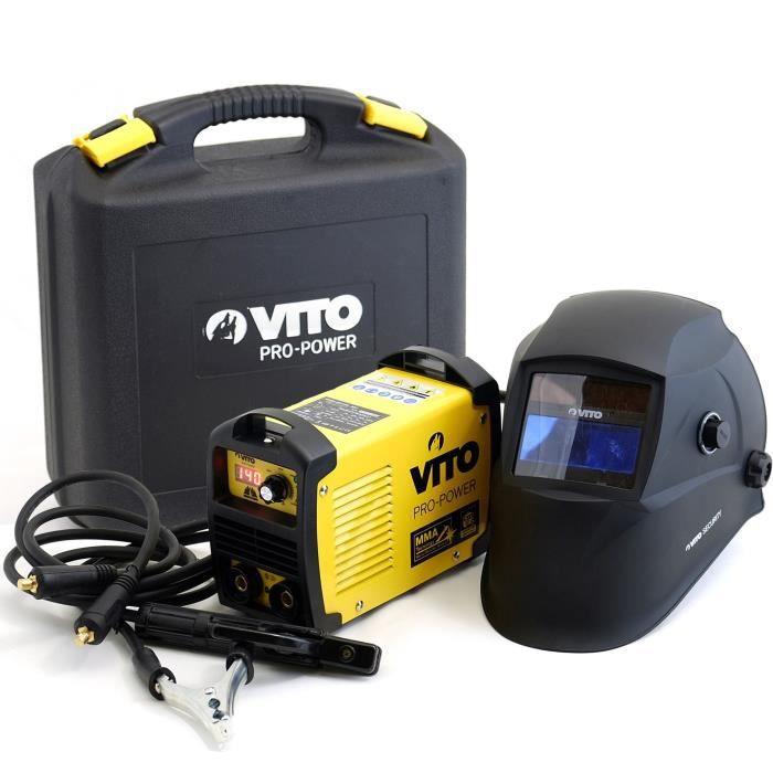 Saldatrice inverter VITO V140 - Fornita con cappuccio elettronico 9/13, guanto da saldatore resistente al calore e set di elettrodi da 2,5 mm
