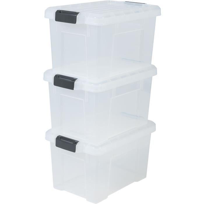 IRIS OHYAMA Lotto di 3 contenitori con chiusura a scatto - Power Box - SK-210 - Trasparente - 21 L - 46 x 29, 7 x 25, 7 cm