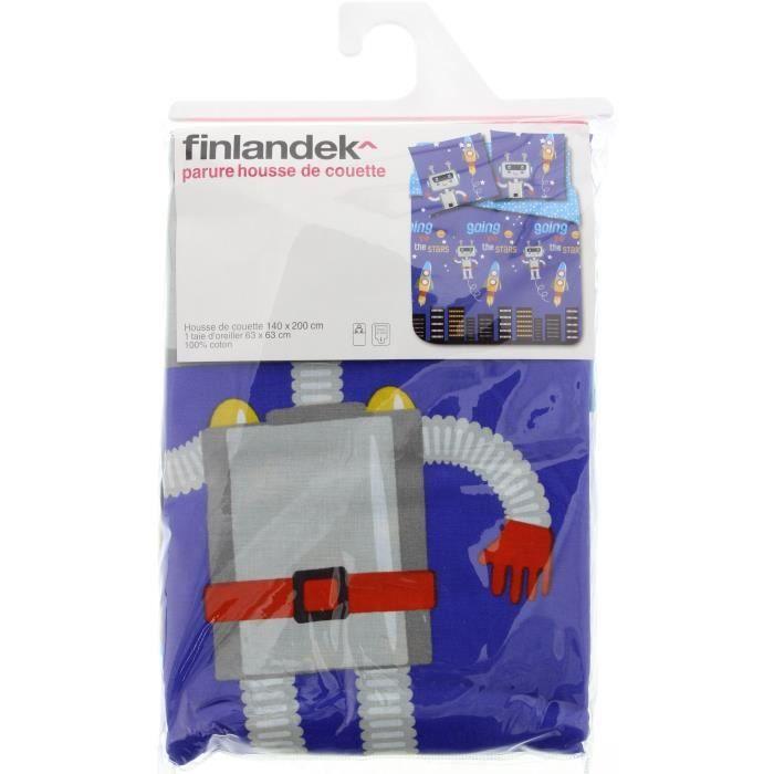 FINLANDEK Parure de couette Robot 100% coton - 1 housse de couette 140x200 cm + 1 taie d'oreiller 63x63 cm bleu