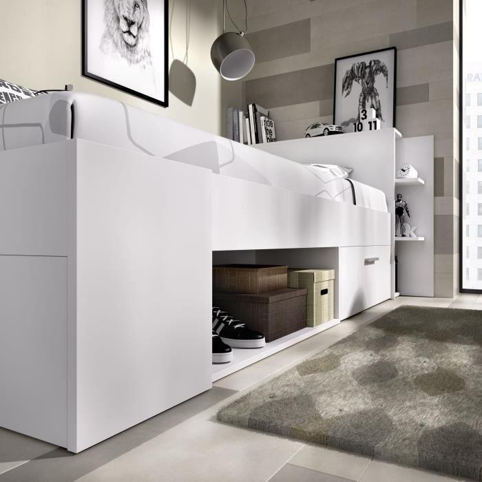 Lit enfant multiples rangements - Décor Blanc - 90 x 190 cm - SAX
