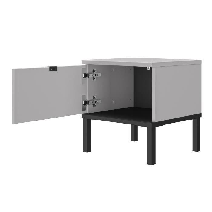 GAMI Chevet 1 porte - Gris et noir - CASTEL - L 36 x P 40 x H 42 cm