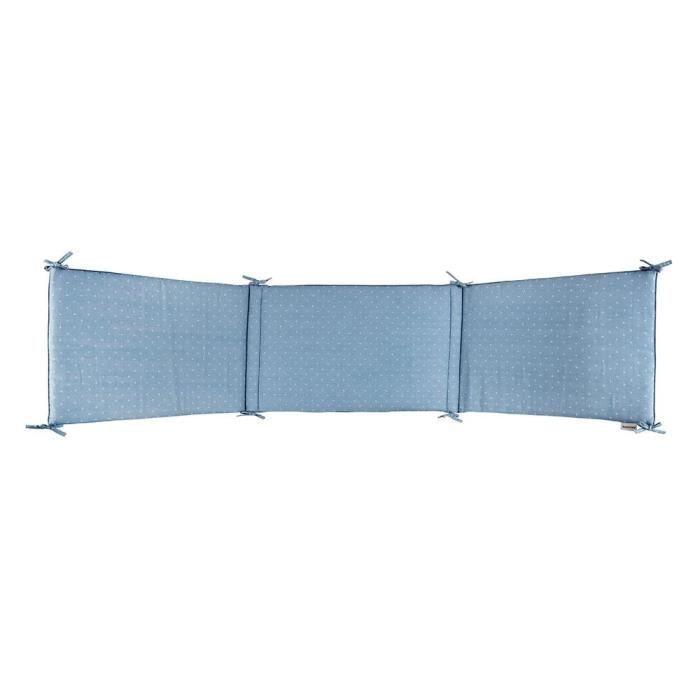 NATTOU - Paracolpi per lettino in puro cotone blu 180x40cm