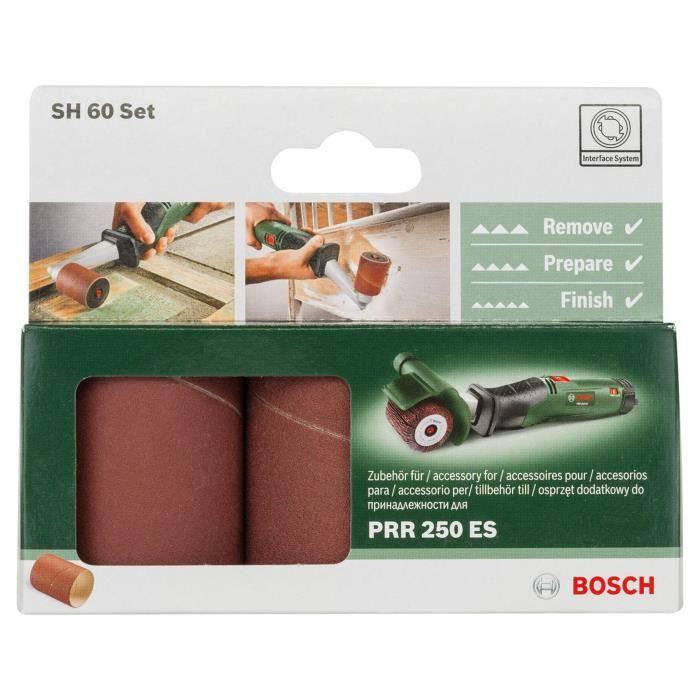 Set de manchons abrasifs Bosch - (G80/120/240, Largeur de rouleau 60mm, Pour Accessoires pour PRR / TEXORO)
