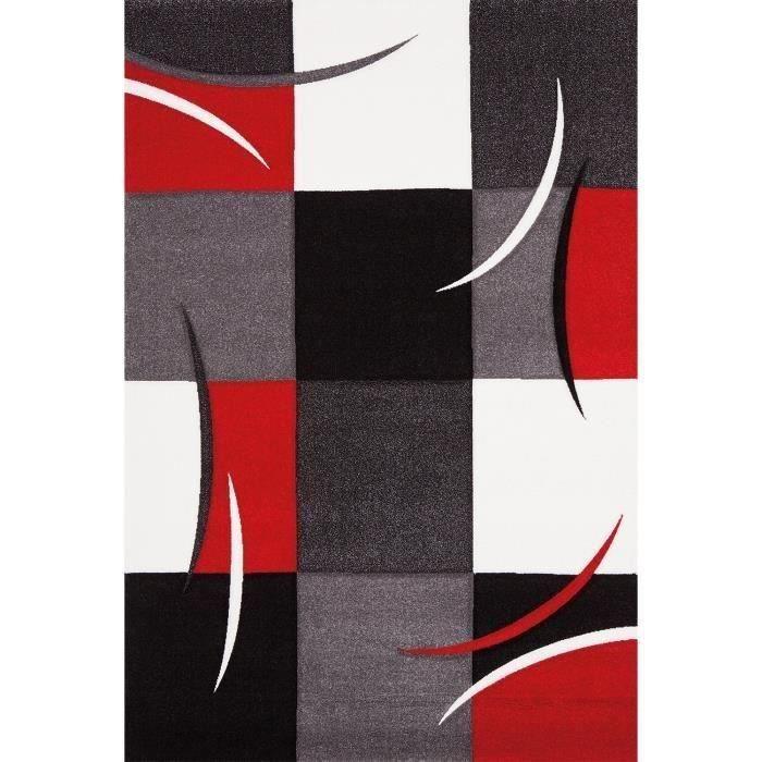 DIAMOND Tappeto da soggiorno 80x150 cm rosso, grigio, nero e bianco