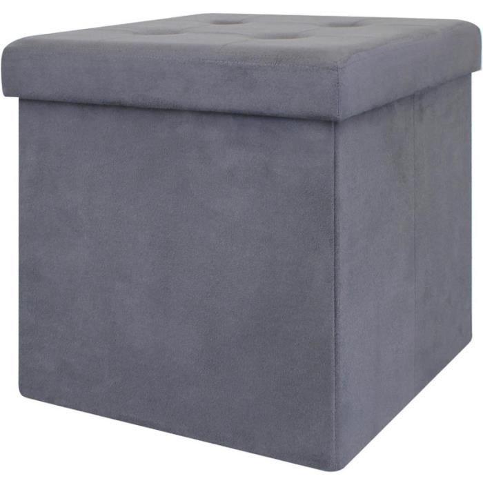 Pouf coffre de rangement pliable - 37,5x37,5x37,5 cm - suédine Gris Foncé