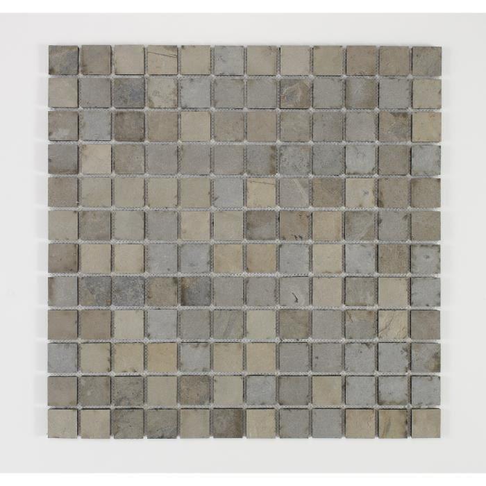 U-TILE Mosaico in pietra naturale 30 x 30 cm - Piastrella 2,5 x 2,5 cm - Beige scuro