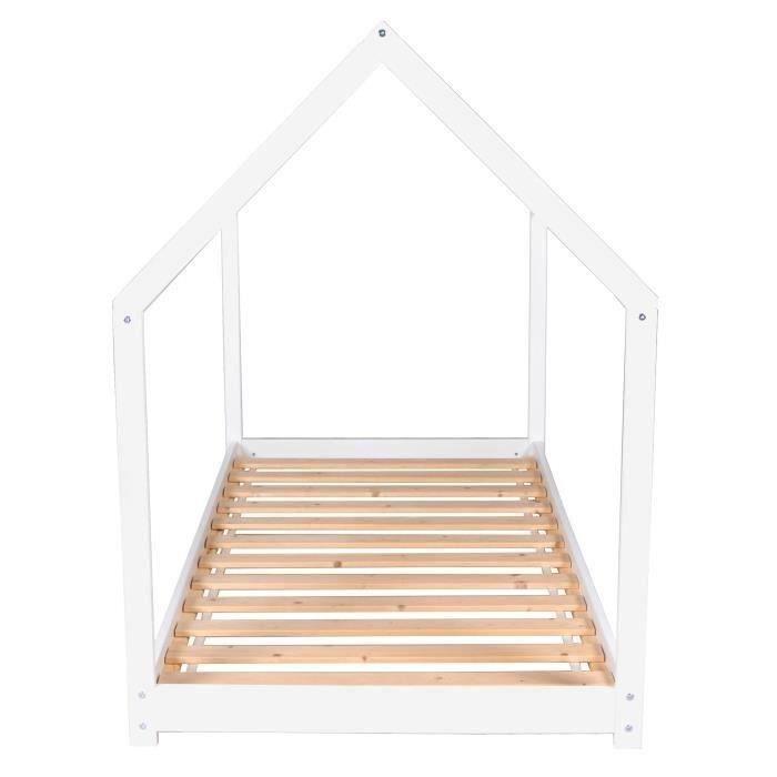 WEBER PANDA Lit enfant cabane Montessori - Bois pin massif blanc - Sommier inclus - 90 x 190 cm
