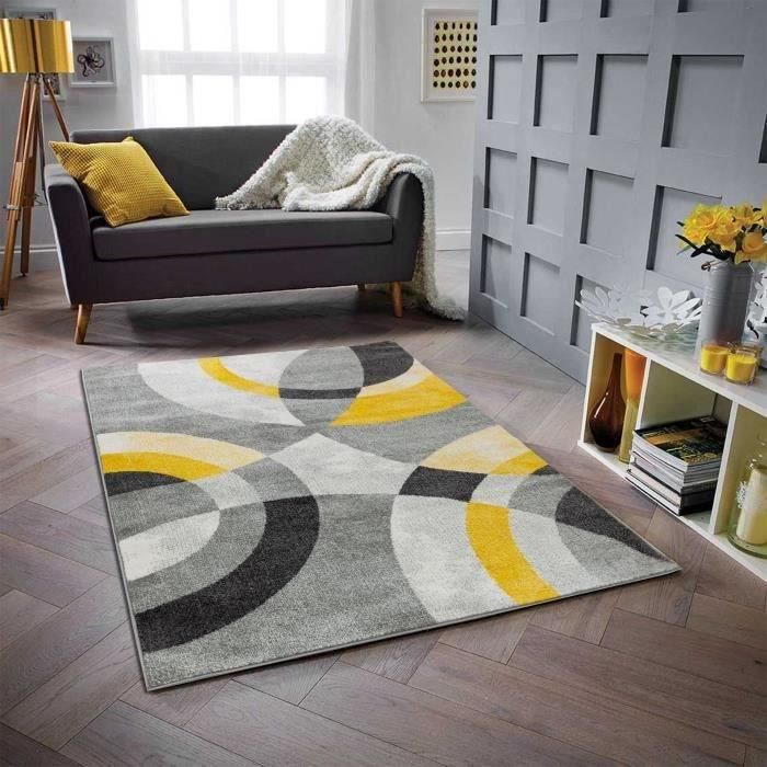 Tappeto soggiorno in polipropilene GALA - 120 x 160 cm - giallo - motivo circolare